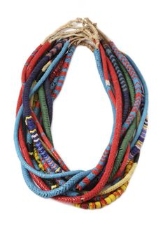 style extraordinaire: diy: dannijo necklace a good story. African Trade Beads, African Jewelry, Tribal Jewelry, Beaded Jewelry, Jewelry Necklaces, Handmade Jewelry, Jewellery, African Necklace, Textile Jewelry