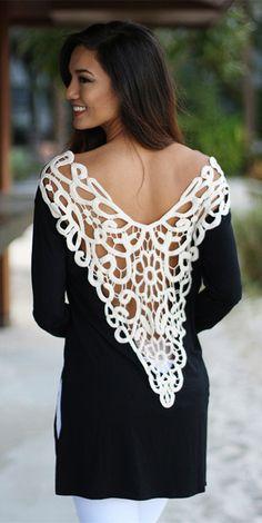 Crochet V-Back Black Top
