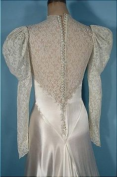 c. 1930's Wedding Gown of Bias White Satin, Trained with Lace Bodice