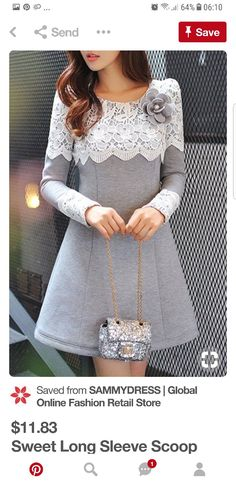 Sweet Long Sleeve Scoop Neck Lace Spliced Flower Pattern Thicken Dress + Brooch For Women ( this dress is cute but it needs to be longer ) Hijab Fashion, Fashion Clothes, Fashion Dresses, Mode Hijab, Sammy Dress, Woman Outfits, Lovely Dresses, I Dress, Dress Patterns