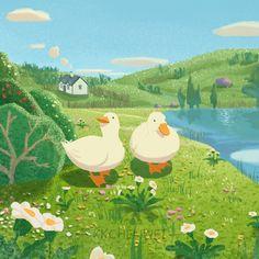Animal Drawings, Cute Drawings, Illustrations, Illustration Art, Deco Studio, Duck Art, Poster Prints, Art Prints, Aesthetic Art