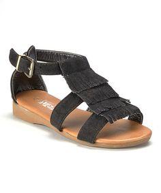 Look at this #zulilyfind! Black Tier Fringe Sandal - Kids #zulilyfinds