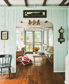 I love this cottage!  Paint Sources  Sitting Room: Rainsong by Pittsburgh Paints  Master Bedroom: Love Bird by Pittsburgh Paints