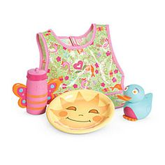 American Girl Bitty Baby Mealtime Set (bib, plate, sippy cup, bird shaped spoon) $18