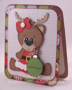 Sweet Baby Reindeer Card...with ornament...bjl.