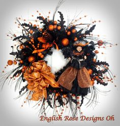 Halloween Wreath  Witch Wreath  Black and by englishrosedesignsoh