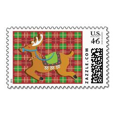 Winter Seasonal Postage. Unique, trendy, chic and stylish Christmas holiday greetings mail stamps. With cute and fun image of Rudolph the red nosed reindeer gingerbread cookie on traditional red and green colored plaid tartan pattern print. Original, elegant and classy stamps to personalize your December season wishes with.