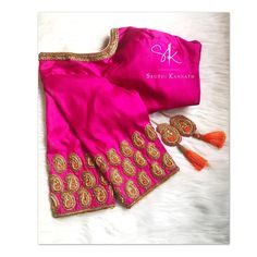Stunning pink color designer blouse with mango design hand embroidery golds thread work. Kids Blouse Designs, Simple Blouse Designs, Bridal Blouse Designs, Blouse Neck Designs, Latest Maggam Work Blouses, Maggam Work Designs, Pattu Saree Blouse Designs, Designer Blouse Patterns, Sarees