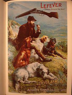 Lefever Arms Co Reproduction Vintage Poster Shotguns Hunter with Setters | eBay