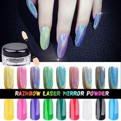 Rainbow Shinning Mirror Nail Glitter Pigment Powder - Ultrafine Holographic Nails Dust - Laser Gradient Holo Nails - 1gram