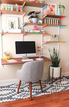 Colorful home office design featuring wall mounted desktop and shelving - Home Office Ideas & Decor - westelm.com