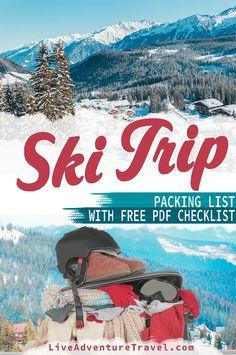 This 2020 ski trip packing list guide will cover what to wear on a ski trip, what to bring skiing and what to rent skiing. It is perfect for both those going on their first ski trip or for those more experienced skiers. So, if you are looking for a detailed list of a Ski Trip Essentials look no further because this is the list for you! I have even included a FREE ski trip packing list PDF inside. #Ski #Skiing #Packing