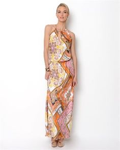 Single Printed Halter Maxi Dress-Made in USA