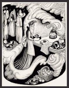Original Wanda Gag pen and ink illustration for her Caldecott Honor winning book Snow White and the Seven Dwarfs. Ink Illustrations, Children's Book Illustration, Snow White Queen, Witch Room, Graphite Art, Unicorns And Mermaids, Vintage Fairies, Fairytale Art, Ink Pen Drawings