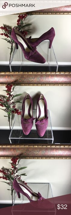 Banana Republic Purple Suede Leather Pumps-Heels Gorgeous pumps by Banana Republic with a unique wine purple suede leather upper, ruched sides and a decorative knot over the top. They are made in Italy with 3 ½ inch heels and leather soles. They are in very good used condition with some scuffing and general wear from previous use- see pics. Banana Republic Shoes Heels