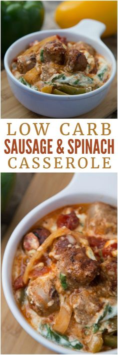 This low carb sausage and spinach casserole is comfort food at its best! It's cheesy, meaty and full of good-for-you veggies.