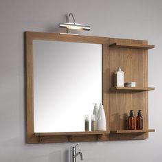 Bathroom Mirror With Shelf, Bathroom Wall Decor, Bathroom Styling, Bathroom Ideas, Wooden Shelf Design, Wall Decor Design, Washroom Design, Bathroom Interior Design, Diy Pallet Furniture