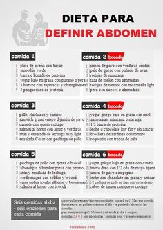 Dieta de 6 comidas al dia para definir abdomen