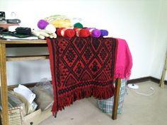 manta con diseño mapuche