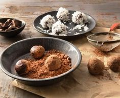 Coconut milk stands in for heavy cream in these easy homemade chocolates. A touch of vanilla extract and an optional dash of orange-flavored liqueur give them a subtle yet sophisticated edge and aroma. Vegetarian Times, Vegetarian Desserts, Raw Desserts, Just Desserts, Dessert Recipes, Healthy Desserts, Vegan Vegetarian, Paleo, Vegan Chocolate Truffles
