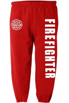 Firefighter sweatpants for men firemen sweats fire fighter pants men's red Women Motorcycle Quotes, Mens Sweatpants, Get Fresh, Firefighter, Firemen, Color Red, Cotton, Etsy, Fashion
