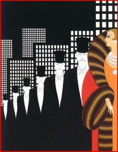 Classic image by Erté, Romain de Tirtoff, like something out of a Fred Astaire movie, the dancers in top hats and woman in opulent gown are in the style of the late 20s early 30s. I love the simplified, stylised buildings behind, modern and yet classic.