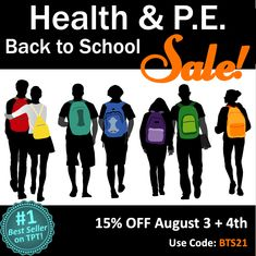 Get TeachersPayTeacher's #1 BEST-SELLING Health & P.E. Lessons on 15% OFF SALE! These are: EDITABLE, ONLINE ON GOOGLE DRIVE, Low-Prep, Standards-Based, Great Reviews!