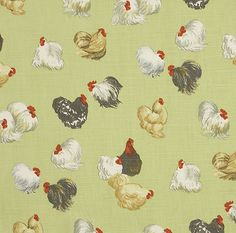 Rare Breeds Fabric A printed cotton with chickens on a soft green background.  A lovely fresh country print, suitable for curtains, blinds a...