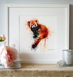 Red Panda Watercolor painting Wall art Animal art by Artsyndrome