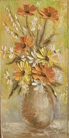 цветочки – купить или заказать в интернет-магазине на Ярмарке Мастеров | картина написана мастихином и кистью