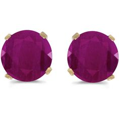 14k Yellow Gold Round Ruby Stud Earrings (CM-E1471X-07) ($136) ❤ liked on Polyvore featuring jewelry, earrings, round stud earrings, yellow gold ruby earrings, 14 karat gold earrings, yellow gold earrings and 14k gold earrings