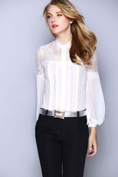 New Luxury  White Black Silk Blouses for Women Brand Blouse With Lace Long Sleeve Female Silk Tops Femininas Free Shipping