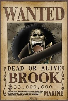 one piece wanted posters brook - Google Search