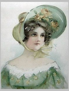 Lady in green ensemble, Victorian~~artist?