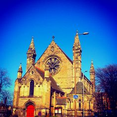 Mansfield Traquair against the spring sky