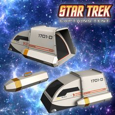Star Trek Captains tent that looks like a Star Trek shuttlecraft for all your camping missions