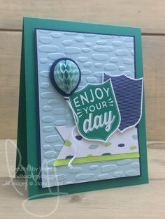 Your Day | Stampin\' Up! | Badges & Banners #literallymyjoy #WhatWillYouStamp #WWYS120 #masculine #male #EmeraldEnvy #NaturallyEclecticDSP #balloon #enjoyment #birthday #enjoyyourday #LemonLimeTwist #20172018AnnualCatalog