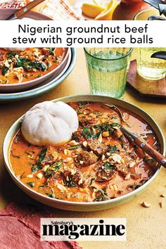 This northern Nigerian dish, also known as miyan geda and tuwo shinkafa, is a rich, hearty, spicy stew made with beef and peanuts. Get the Sainsbury's magazine recipe Spicy Stew, Hearty Beef Stew, Magazine Recipe, Beef Ribs, Potato Skins, Food Trends, Latin America, Main Meals, Soups And Stews