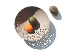 Modern pottery fruit bowl in grey clay minimalist by CurveCeramics