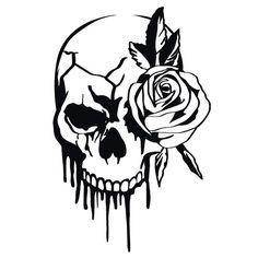 Totenkopf Rose Wandtattoo