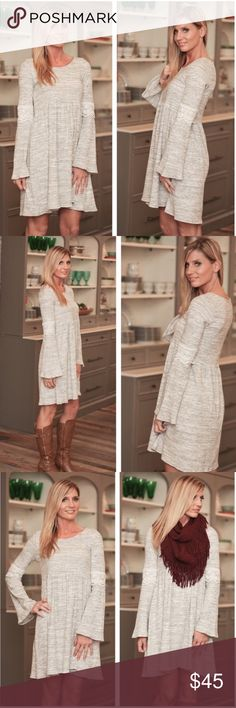 Heather Gray Lace Trim Bell Sleeve Baby Doll Dress Heather Gray, Lace Trim, Bell Sleeve, Baby Doll Dress! This dress is a gorgeous blend of gray & ivory, thick knit & has bell sleeves with Lace trim! This dress looks just great alone or accessorize with a scarf as in picture. Dresses Long Sleeve