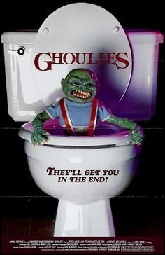 GHOULIES: Directed by Luca Bercovici. With Lisa Pelikan, Peter Liapis, Michael Des Barres, Jack Nance. A young man and his girlfriend move into an man's old mansion home, where he becomes possessed by a need to control ancient demons. Horror Movie Posters, Horror Films, Cinema Posters, Funny Horror, Horror Comics, Comedy Films, 80s Movies, Scary Movies, Good Movies