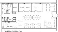 Floor Plan Design For CoWorking Long Space Architecture