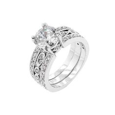 Queen of France      White Gold Rhodium Bonded Triple Row Anniversary Ring with Round Cut Clear CZ in Silvertone. Three rows of CZ accented shoulders profoundly introduce a brightly https://www.mymallmetro.com/products/queen-of-france?utm_campaign=crowdfire&utm_content=crowdfire&utm_medium=social&utm_source=pinterest