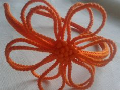 Orange crochet headband with semi-opaque by sirghiliviahandmade