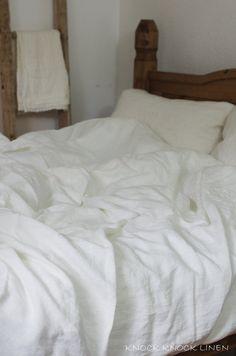 White Washed Linen Pillow Case. envelope by KnockKnockLinen