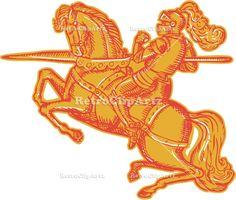 Knight Full Armor Horseback Lance Etching Vector Stock Illustration