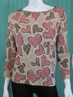 ST JOHN Shimmer Knit Bateau Neck Sweater Graphic Heart Gold Size L $595 NWOT #StJohnSport #BoatNeck