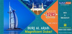 Get ready to discover new dimensions of luxury with the #BurjAlArab, #Dubai. 3 Nights vacation from £1245 per person only. Call now for more information and bookings! http://www.southalltravel.co.uk/holidays/middle-east/dubai/burj.aspx