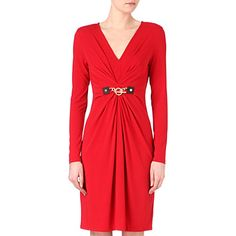 MICHAEL KORS Gathered chain-detail dress (Red